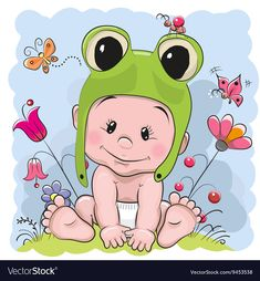 Illustration of Cute Cartoon Baby in a froggy hat on the meadow vector art, clipart and stock vectors. Clipart Baby, Cute Clipart, Baby Cartoon, Cute Cartoon, Girl Watercolor, Dibujos Baby Shower, Cartoon Mignon, Baby Art, Baby Wearing