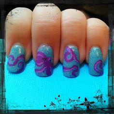 Octopus, Tentacles, Undersea, Blue, Purple Nail Art