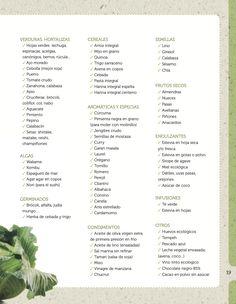 Lista de la compra: verduras, hortalizas, algas, germinados, cereales, aromáticas, especias, condimentos, semillas, frutos secos, edulcorantes, infusiones...