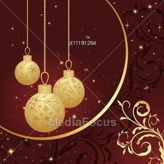 Stock Photo Christmas Floral Card With Gold Balls - Image OT11181264 - Christmas Floral Card With Gold Balls Stock Photography