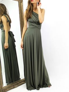 Azbro Multi-way Fashion Backless Deep V Dress Cheap Maxi Dresses, Maxi Gowns, Cute Dresses, Olive Green Bridesmaid Dresses, Olive Green Dresses, Infinity Wrap Dresses, Deep V Dress, Summer Dresses For Women, Spring