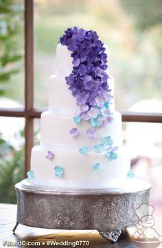"Design W 0770 | Fondant Wedding Cake | 12""+10""+ 8""+ 6"" | Serves 120 | Fondant Cover, Ombre Purple to Blue Sugar Hydrangeas | Custom Quote"