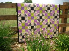 Handmade Quilt Delightful Purple, Green and Black