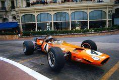 Bruce McLaren passing the Hotel de Paris in Monaco 1969
