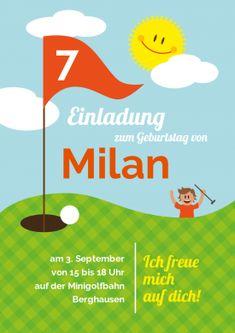 Minigolf  Oder Golf Kindergeburtstag? Lustige Einladungskarte Für Jungen  Zum 7. Geburtstag