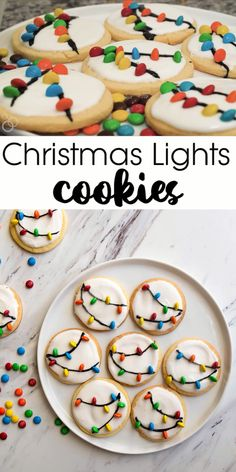 Christmas Lights Cookies are so cute and so easy! Kids love these cookies for Santa because of the mini M&Ms. These easy cut out sugar cookies have a simple royal icing recipe. Christmas Sugar Cookies, Christmas Snacks, Xmas Food, Christmas Cooking, Christmas Parties, Sugar Cookies With Icing, Christmas Shortbread Cookies, Christmas Meal Ideas, Christmas Baking For Kids