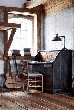 wooden beams, great desk, guitars, windows....inspiration space!