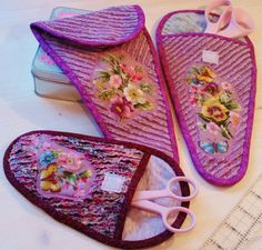 Romantic scissor pockets with chenille for handy by poppyshome, $12.00