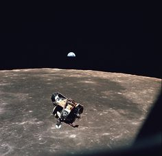 """The Apollo 11 lunar module """"Eagle"""" returning to the command module before docking on July 21, 1969. (NASA)"""