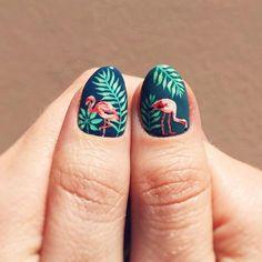 Painted some tiny flamingos on my thumbs They're so cute I wanna name em!  #gaudyoctopusnails #nailart #instanails #handpaintednailart #palmleaves #tropicalnails #flamingos #flamingonails