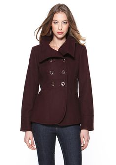 KENNETH COLE Double-Breasted Coat with Envelope Collar