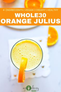 A refreshing Whole30 Creamy Orange Julius that's perfect to sip on a hot summer day.  With only 4 ingredients this vegan drink is a fruity, creamy, ice-cold drink.  Ana Ankeny - Healthy Recipes Easy Whole 30 Recipes, Best Gluten Free Recipes, Whole Food Recipes, Family Recipes, Amazing Recipes, Summer Recipes, Healthy Drinks, Healthy Snacks, Healthy Recipes