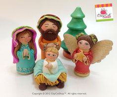 Nativity set Polymer clay & Wood sculpture  OOAK
