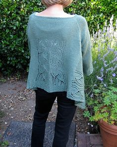 #112 Dramatic Lace Top-Down Wrap Cardigan by SweaterBabe. malabrigo Worsted in Mint colorway.