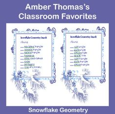 Making paper snowflakes isn't just a fun geometry activity. It also gives students a tool to practice identifying geometric concepts like:    *2 dimensional figures  *Angles  *Types of triangles  *Types of quadrilaterals  *Lines of symmetry  *Line relationships (parallel, intersecting and perpendicular)    Currently $1.50