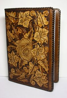 Hand-tooled leather book cover, handcrafted book cover, sheridan book cover, personalized book-cover MADE-TO-ORDER Leather Art, Leather Tooling, Tooled Leather, Leather Carving, Scripture Case, Bible Cases, Leather Bible Cover, Leather Book Covers, Leather Folder
