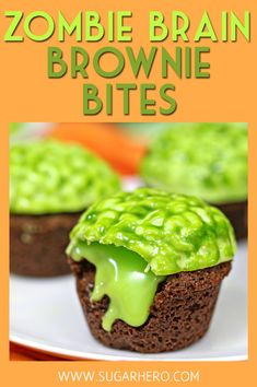 "Zombie Brain Brownie Bites - brownie cups that ooze chocolate ""slime"" when you bite into them! Halloween Desserts, Postres Halloween, Halloween Brownies, Hallowen Food, Halloween Baking, Halloween Cupcakes, Halloween Food For Party, Halloween Treats, Zombie Cupcakes"