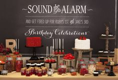 Vintage Firetruck Theme Dessert Table in Red and Black -- Would be super cute for Veer's 4th and Leela's 1st Birthday Party! --