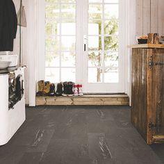 Grey, dark tile-look flooring. Pergo Extreme Tile in Mermaid Stone
