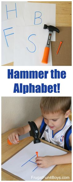 Learning letters is easy with a preschool alphabet activity that kids are sure to love!  Jonathan enjoyed this immensely and worked on it three days in a row.  (And he'll probably come back to it tomorrow too!) To set up this activity, you will need a toy hammer, a golf tee, a piece of corrugated …