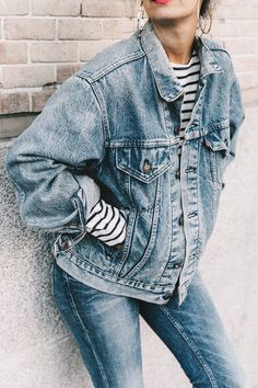 oversized denim jacket SS Double_Denim-Levis_Vintage-Skinny_Jeans-Striped_Top http://FashionCognoscente.blogspot.com