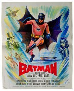 1966 Batman Original French Film Poster. Art by Boris Grinsson.