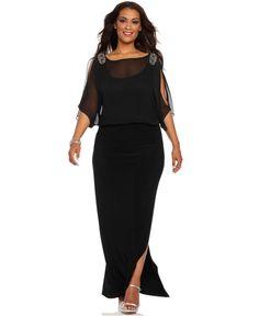 Xscape Plus Size Dress, Short Split Sleeve Beaded Evening Gown - Plus Size Dresses - Plus Sizes - Macy's