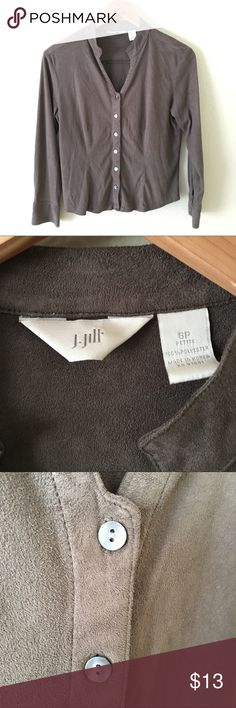 J.Jill Brown Microsuede Banded Collar Shirt Perfect autumn top in a brown microsuede (polyester) with iridescent buttons. Wear as a shirt with jeans or khakis or wear open as a lightweight layering piece. J. Jill Tops