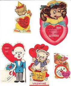 Bear Vintage Valentines Lot of 11 Die Cut Valentine Cards Bears   eBay