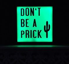don't be a prick  cactus || neon || signs