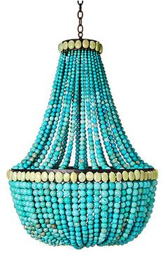Turquoise Chandelier...I have no idea where I would put this, but I want to put it ANYWHERE.