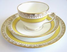 Antique Diamond China Tea Trio Yellow and Gold by TheWhistlingMan, £15.00