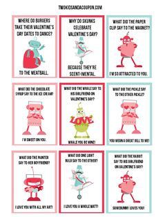 Free Kids Printable Robot Valentines And Lunchbox Jokes - Lots of valentine's fun in just one printable page! Are you planning a Valentine's Day party or - Valentines Day Jokes, Valentines Robots, Kinder Valentines, Valentine Day Cards, Valentines Diy, Free Printable Valentines, Valentine Wreath, Valentine Riddles, Funny Valentines Cards For Friends