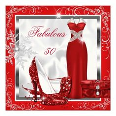 Fabulous 50 Party Red Silver Dress Heels S7 Announcement