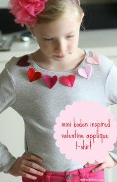 OS MELHORES ARTESANATOS: Aplique corações de feltro em camisetas