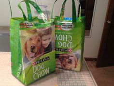 Recycled dog food bags.