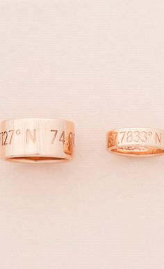 his and her wedding bands with special coordinates on them