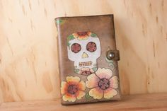 Journal - Leather Journal - Sketchbook - Blank Book - Refillable - Vesa pattern with day of the dead sugar skull and flowers - Skull Journal