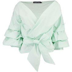 Boohoo Emily Ruffle Sleeve Woven Blouse