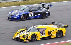 Scuderia Cameron Glickenhaus, Nürburgring, qualifying for 24 Hrs w SCG003C and SCG003S. Carbon fiber.