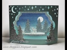 Carols of Christmas Diorama Card. Yep its another Diorama . this time Ive used the Carols of Christmas bundle to create this little Christmas scene in peaceful blues and glimmer paper. If you are interested in seeing the other Diorama I did back in 2014 Christmas Scenes, Christmas Carol, Christmas 2016, Christmas Tree, Pop Up Cards, Xmas Cards, Stampin Up Christmas, Christmas Crafts, Handmade Christmas