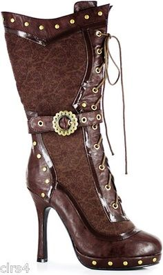 Awesome Victorian Steampunk Women's Boots Halloween 6 7 8 9 10 Brown Gears | eBay