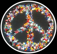 """""""In this we are all & but """"If we all put our hearts it a ."""" - by Hillel Rzepka Heart Collage, Hippy, Peace And Love, Glass Art, Sculptures, Hearts, Shapes, Create, Colors"""