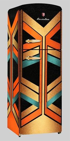 Wow - not vintage but so cool! This Art Deco refrigerator is colorful and bold, featuring geometric and angular decoration. It would make for an interesting emphasis piece in an eclectic modern kitchen. Motif Art Deco, Art Deco Design, Art Nouveau, Art Deco Furniture, Painted Furniture, Modern Furniture, Ikea Furniture, Furniture Showroom, Furniture Ideas
