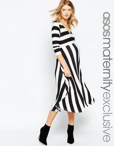 ASOS Maternity | ASOS Maternity Midi Skater Dress In Mono Stripe at ASOS