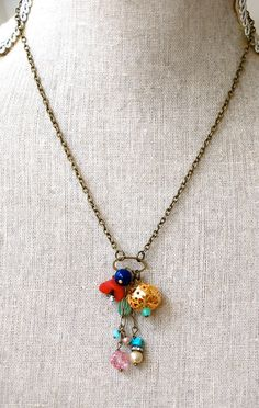 Color pop.colorful charm necklace. by tiedupmemories on Etsy, $32.00