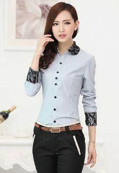 Jual Baju Kemeja Blouse Kerja Kantor Formal Wanita Import B211821 Grey Blue…  Ladies Shirts Formal 0ab53c96a7