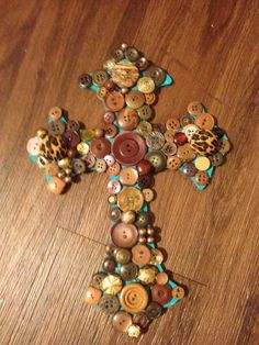 Turquoise and Brown Button Cross on Etsy, $25.00