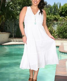 Look at this Ananda's Collection White Eyelet Maxi Dress - Plus on #zulily today!