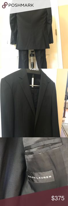 $2095 Ralph Lauren Black Label Suit Size 38r beautifully tailored suit 100% wool fully canvassed. Made in Italy charcoal grey herringbone pattern. Ralph Lauren Black Label Suits & Blazers Suits